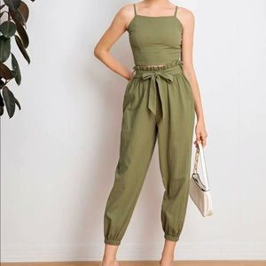 SHEIN | Crop Top & Paperbag Waist Pants Set